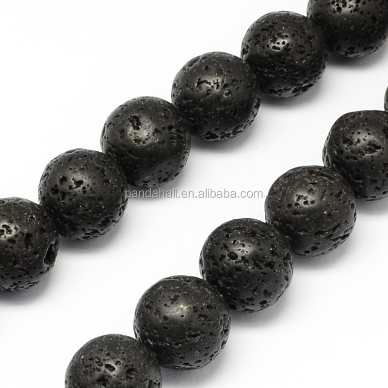 6.5mm <strong>Natural</strong> Round Black Semi-Precious Lava Stone Beads Strings