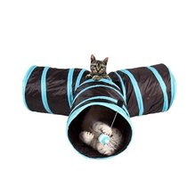 Pet Cat Kitten Dogs Foldable Collapsible Activity Play Toy 3 Way Cat Tunnel