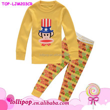 2015 Competitve price high quality Animal pajama gold color monkey baby pajamas