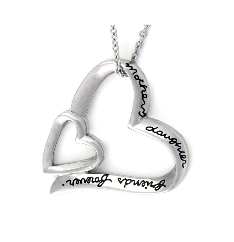 925 sterling silver Mother and Daughter engraved necklace