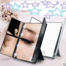 Make-up 3 Folding Portable Touch Screen Adjustable Tabletop Countertop New Design 8 LEDs Lighted Makeup Mirror