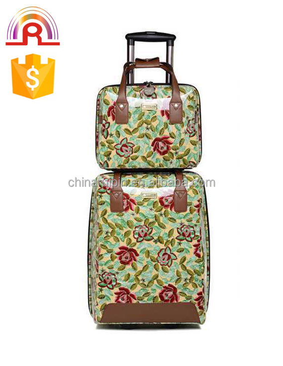 trolley and hand bag pu trolley luggage