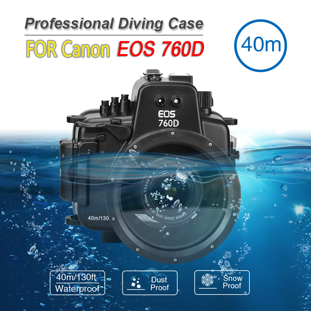 Waterproof Photo Housing 40m/130ft Rated Underwater Diving professional camera submersible protective case for  Canon Eos 760D
