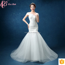 Latest Design Elegant Off-Shoulder Alibaba Mermaid Wedding Dress 2018