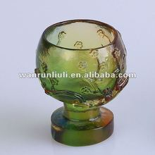 Green carved antique crystal wine glass