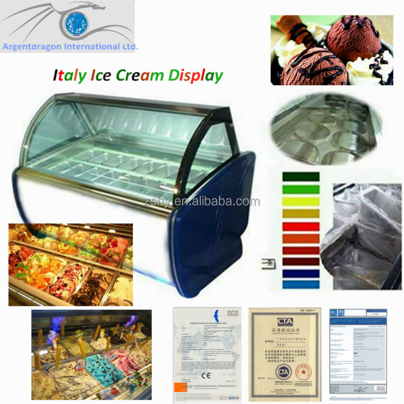 Spumoni ice cream display freezer