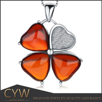 CYW Hot china products wholesale Clovershaped garnet 925 sterling silver pendants of guangzhou