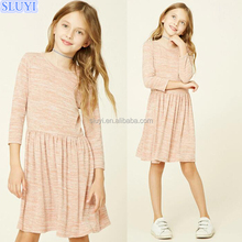 custom kids clothing 13 year old girl 3/4 sleeve marled knit dress summer sequin children baby girl dresses wholesale from surat