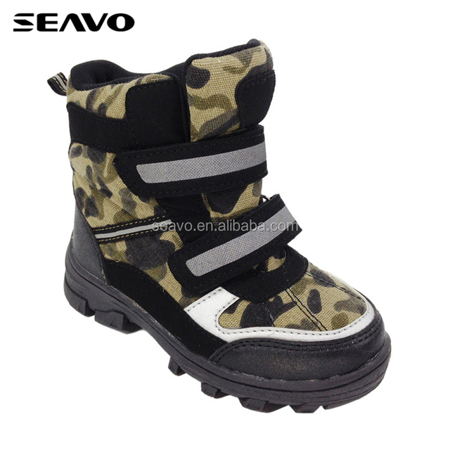 SEAVO AW18 new camouflage canvas upper design children winter snow boots