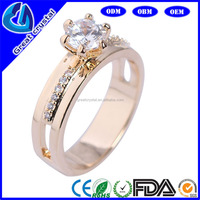 gold wedding rings with round zircon 18K rose gold plating
