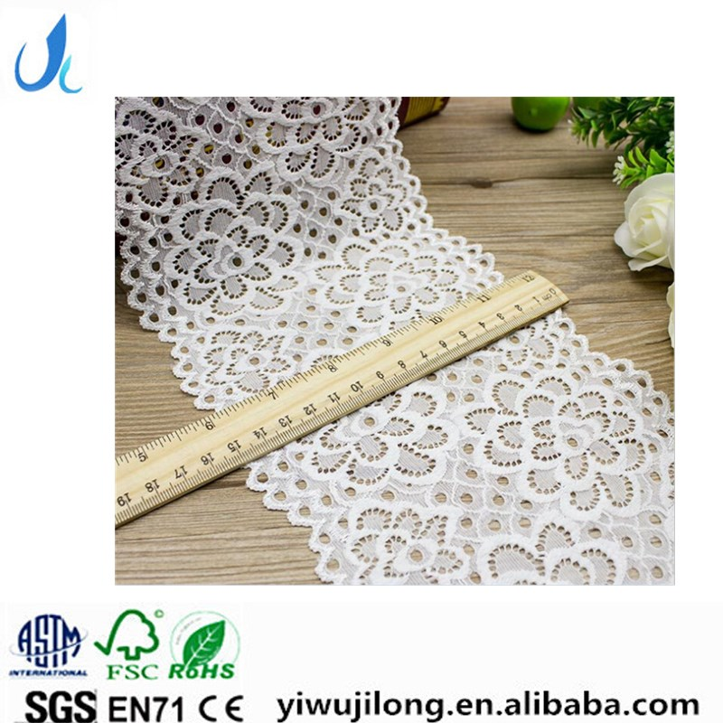 Best selling lingerie used 15cm wide corded elastic white lace