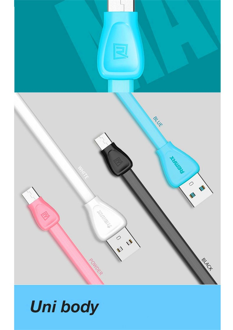 Remax Wholesale Manufacturer Cheap Price Colorful Flat micro usb charger data cable For Mobile Smartphone