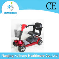 Red 4 wheel electric scooter for elderly