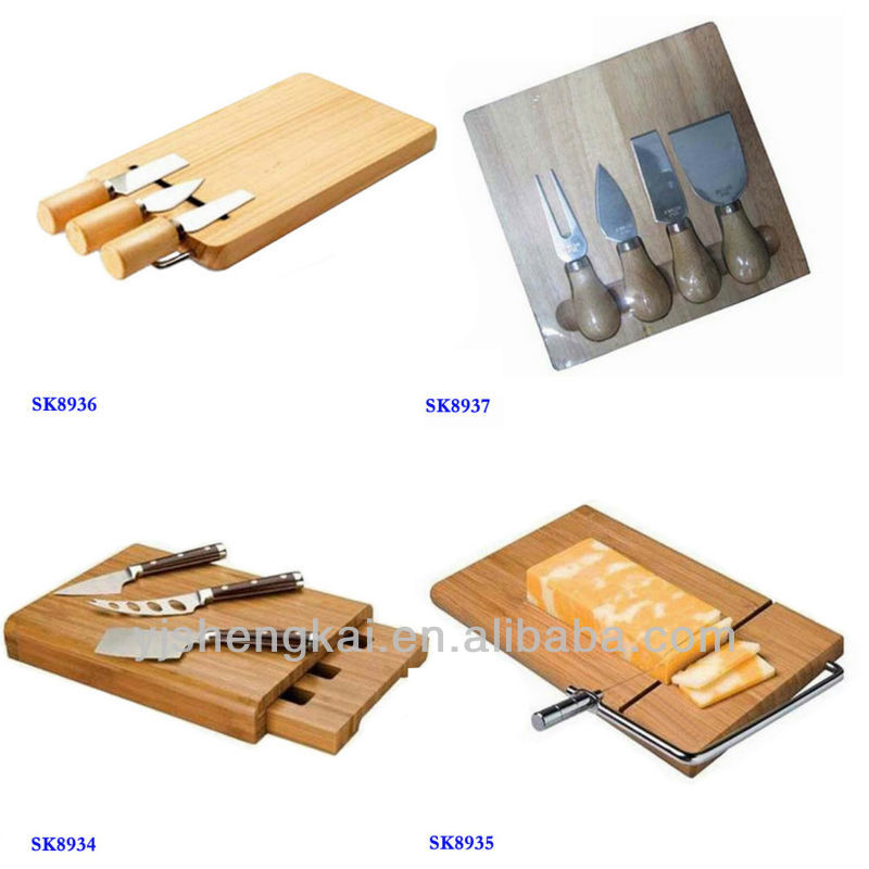 6pcs stainless steel cheese knife with cutting board