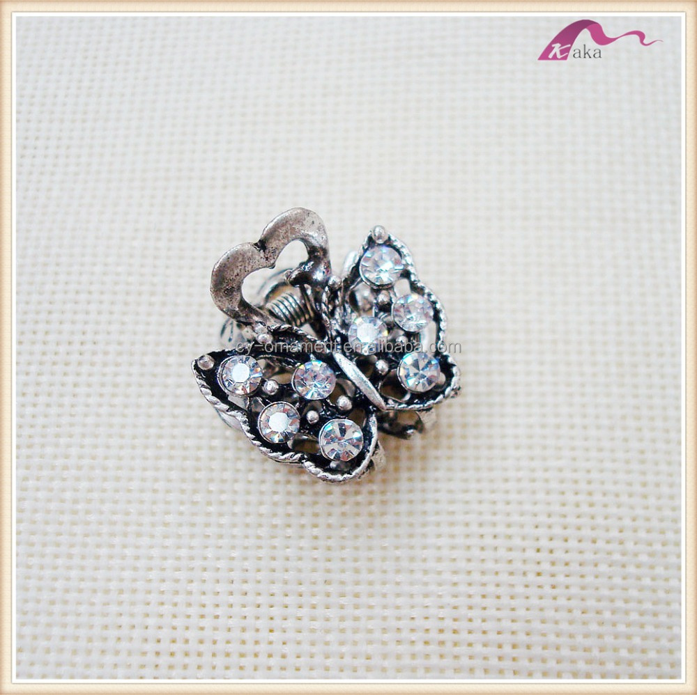 Fashion Mini Metal Crystal Butterfly Hair Clips Claw