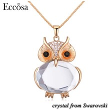 Eccosa Fashion Stylish Alloy Jewelry Animal Sparkling Owl Necklace Made With Crystal From Swarovski