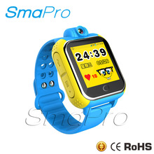 High quality touch screen kids pedometer 3g gps tracker hidden camera smart watch