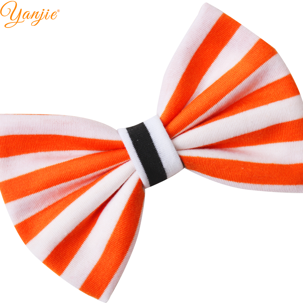 "5"" Cotton Hair Bow Elastic Striped Halloween Festival Headband Kids Girl Photography 2019 Hair Accessories Headwear For Party"