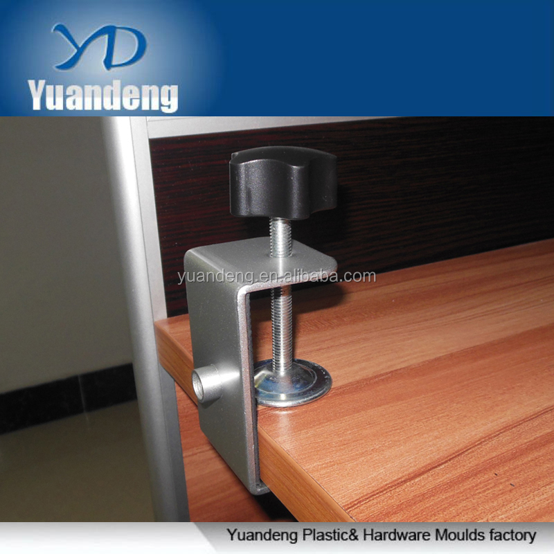 custom made high quality steel anodized G shape bedside tablet bracket clamp with bolt