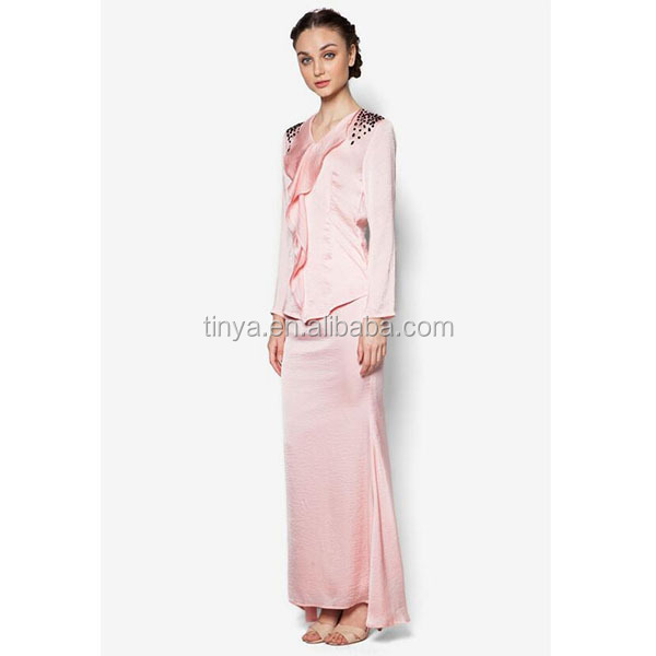 High Quality Front Drape With Beads Kurung Fashion Baju Modern