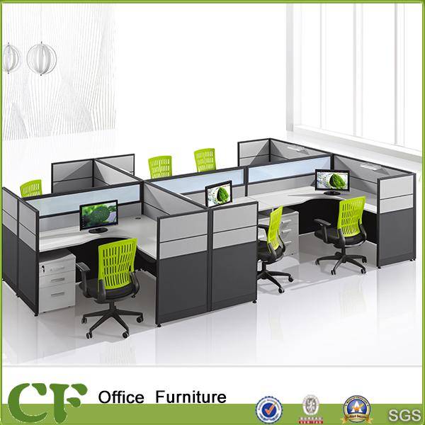 L Shape Modular Office Call Center Office Cubicle for 6 Person with Fabric Divider