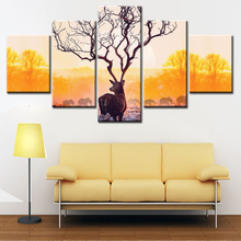 5 Piece Elk Painting Canvas Animal Print Wall Art Painting Deer In Autumn Forest In Sunset Paintings For Home Wall Decoration