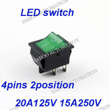15a 125vac rocker switch 6pins 2posirion mini switch with led red green yellow