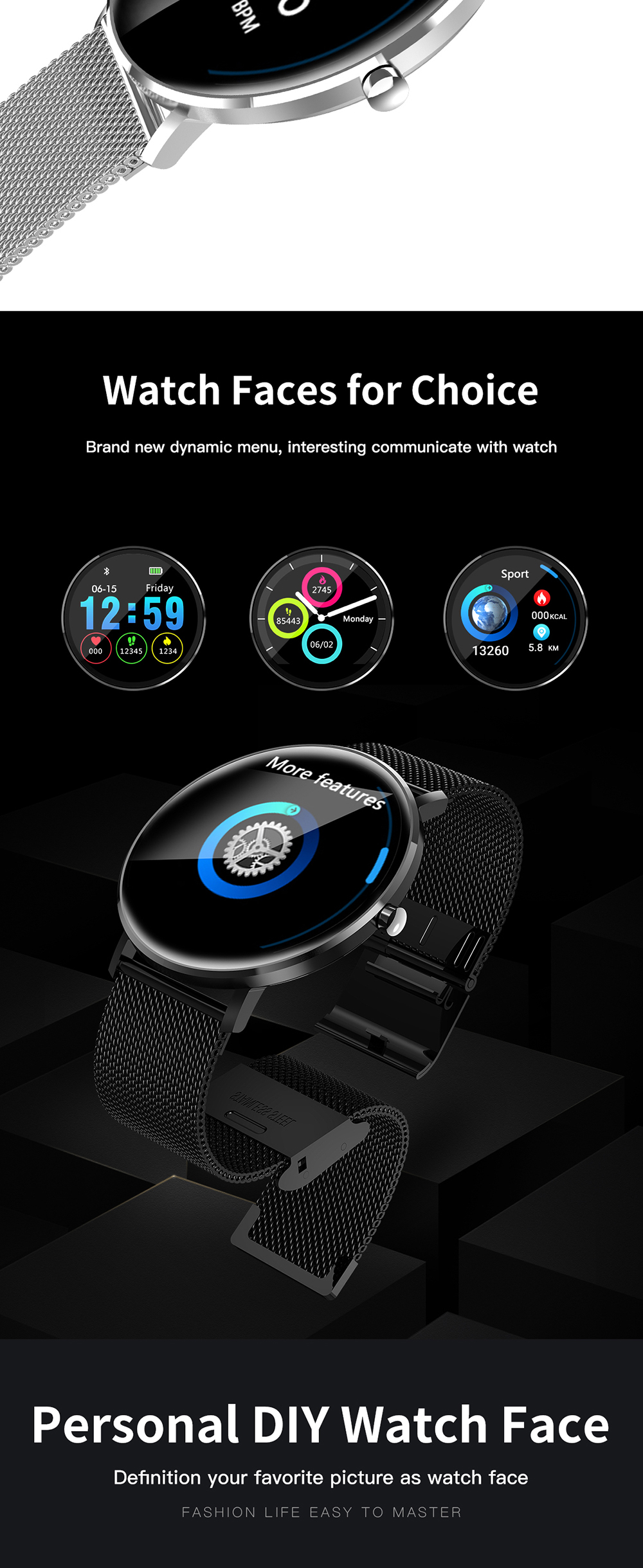 Winait 2019 IP68 Waterproof smart watch with 1.22'' touch display digital sports fitness watch
