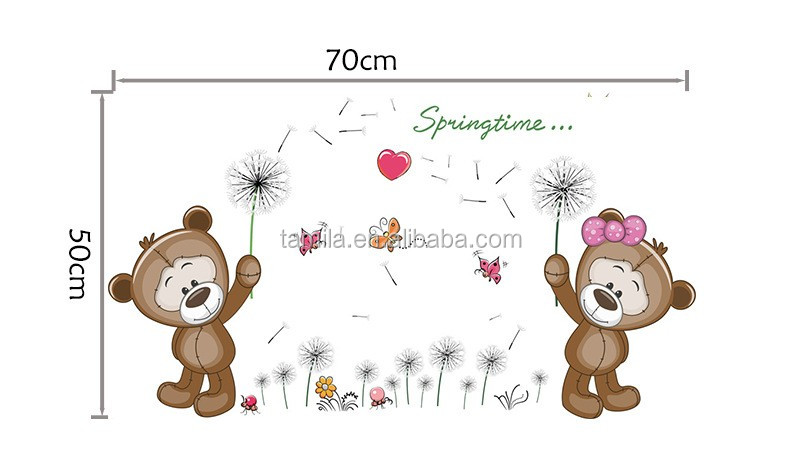 Removeable pvc 3d teddy bear wall sticker non-toxic for home decor