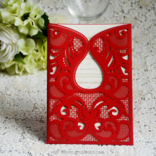 Chinese red color invitations laser cut wedding invitation insert card pocket cards