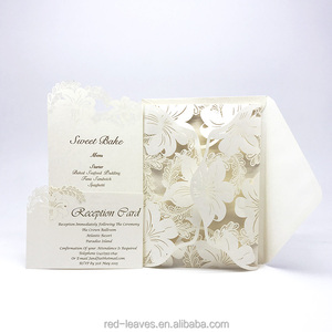 2017 timeless romantic laser cut flower pocket new floral invitation wedding card design