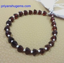 "Garnet Faceted 6*6 mm 53 ct Trillion shape Gemstone straight drilled 6""L/strand"