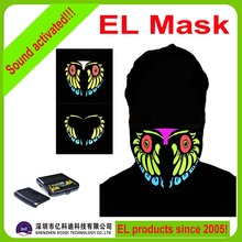 New style el led mask/sound activated el panel mask with battery pack for night club