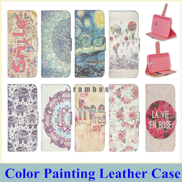 Flip PU Leather Wallet Paint Phone Case Cover Cellphone Funda Stand for iPhone 4/4S 5/5S 6 6 Plus