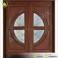 Raw Wooden color solid wood door entrance door with glass for vila and hotel