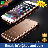 Luxury mirror cover metal aluminum bumper frame mobile phone case for iphone 6s rose gold