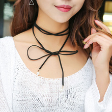 Flower girl dresses jewelry leather bowknot charm choker necklace