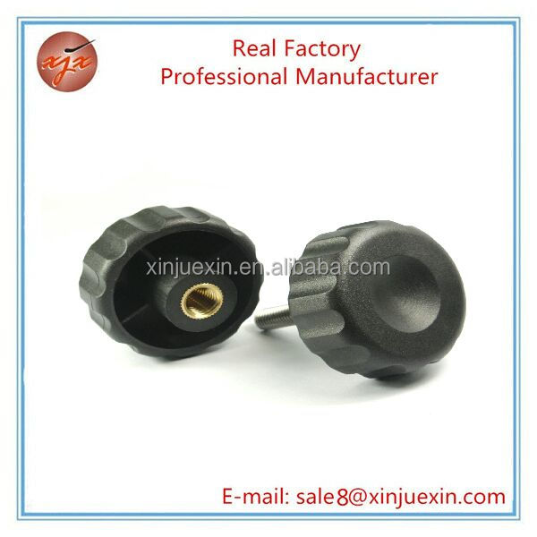 Custom black plastic covering handle nut brass insert plastic cabinet knob