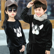 Wholesale winter unisex clothes set,fashion cartoon sport overcoat,unisex top cotton thickening long sleeve pullover kid hoodie