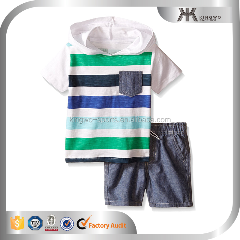 boys clothing, boys' White Printed Stripes Jersey Hoody and Woven Shorts