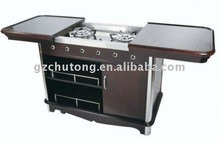 hotel luxury flambe solid wood cooking trolley/cart