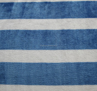 super soft shiny blue and white stripe print flannel fleece fabric