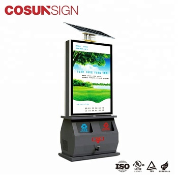Outdoor Solar dustbin with advertising light box