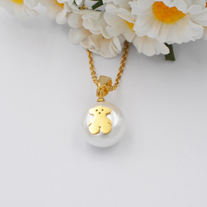 High quality Tour bear shape 316l stainless steel jewelry rose gold fine necklace jewelry sets