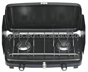 Black Universal Gas Cooker, Hiking & Camping Gas Stove , Two Burner Hiking Portable Gas Cooker