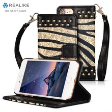 new arrival nail design wallet case for iphone 7,pu leather case with strap for mobile phones,free sample is available