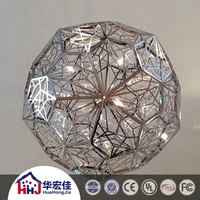 battery powered Customized modern hotel table top light round stainless steel parts decorative chandelier led for weddings