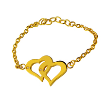 Beautiful Love Gift For Girls, 18K Gold Plated Stainless Steel Heart Shape Pendant Bracelet Jewelry
