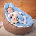 wholesale brown with sky blue cover top baby bean bag chair