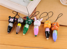 Ballpoint Pens Magic Wooden Cartoon Animals Pen for Student portable mobile phone pendant rabbit dog monkey pig frog cubs random